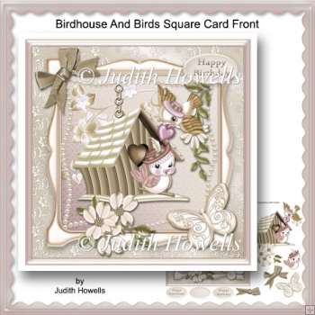 Birdhouse And Birds Square Card Front
