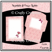 Pink Floral Notelet & Envy Set
