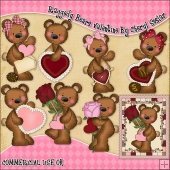 Raggedy Bears Valentinels ClipArt Graphic Collection