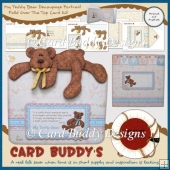 My Teddy Bear Decoupage Portrait Fold Over The Top Card Kit