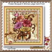 Flower Bouquet In Bronze Large Card Front