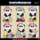 Chubby Panda At The Bakery ClipArt Graphic Collection