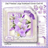 Lilac Freesias Large Scalloped Corner Card Kit