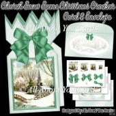 Church Snow Scene Christmas Cracker Card & Envelope