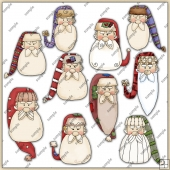 Santa Heads ClipArt Graphic Collection 1