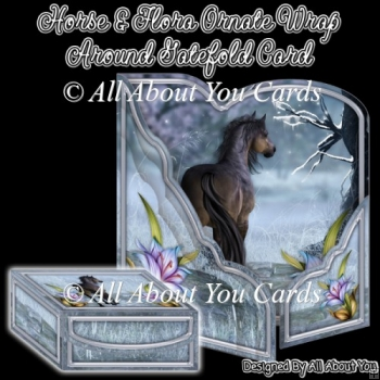Horse and Flora Ornate Wrap Around Gatefold Card