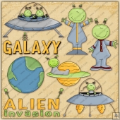 Aliens ClipArt Graphic Collection