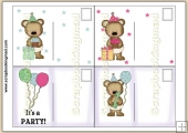 4 Baby Bear Birthday Quick Post Cards PDF Download