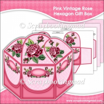 Red Vintage Rose Hexagon Gift Box