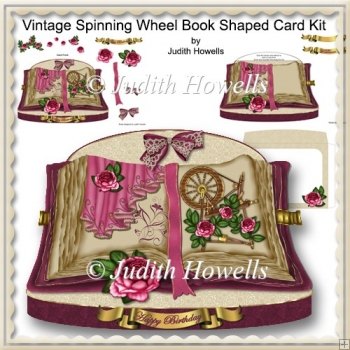 Vintage Spinning Wheel Book Shaped Card Kit