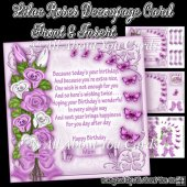 Lilac Roses Decoupage Card Front
