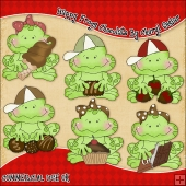 Happy Frogs Chocolate ClipArt Graphic Collection
