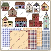 Painted Bird House ClipArt Graphic Collection
