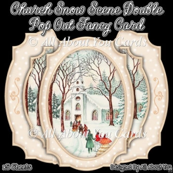 Church Snow Scene Double Pop Out Card