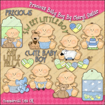 Precious Baby Boy ClipArt Graphic Collection