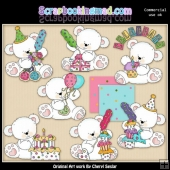 Birthday Polar Bears ClipArt Collection