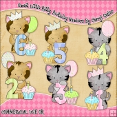 Sweet Little Kitty Birthday Numbers ClipArt Graphic Collection