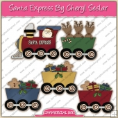 Santa Express Train ClipArt Graphic Collection - REF - CS