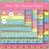 5 Daisy Mix Backing Papers Download (C190)