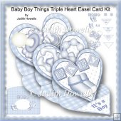 Baby Boy Things Triple Heart Easel Card Kit