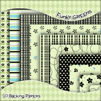 10 Funky Green Backing Papers Download (C36)