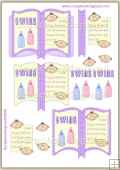 Baby Boy N Girl Twins Open Book PDF Decoupage Download