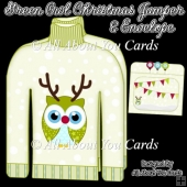Green Owl Christmas Jumper Card & Envelope