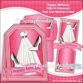 Happy Birthday Glitz N Glamour Pop Out Banner Card