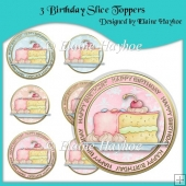 3 Birthday Slice Toppers