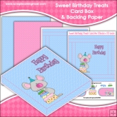 Sweet Birthday Treats PDF Decoupage Card Box & Backing Paper