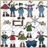 Snowman ClipArt Graphic Collection