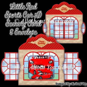 Little Red Sports Card 3D Scenery Card & Envelope