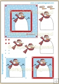Snowman Brrrrrrrr Red & Blue PDF Decoupage Download