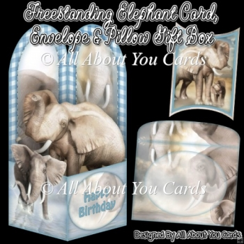 Freestanding Elephant Card & Envelope & Pillow Gift Box
