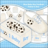 Blue Baby Boy Football Trainer & Gift Box Keepsake