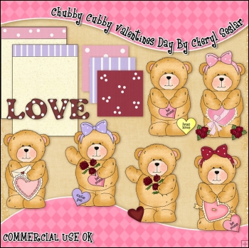 Chubby Cubby Valentines Day ClipArt Graphic Collection