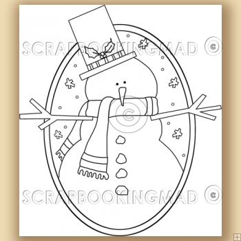 Simple Snowman - Digital Stamps