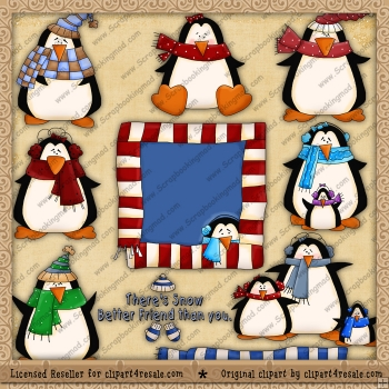 Winter Penguins ClipArt Graphic Collection