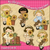 My Little Girl Loves Sunflowers ClipArt Graphic Collection
