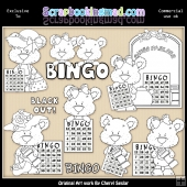 Shorty Bears Bingo Colour Your Own Clip Art RESALE SET