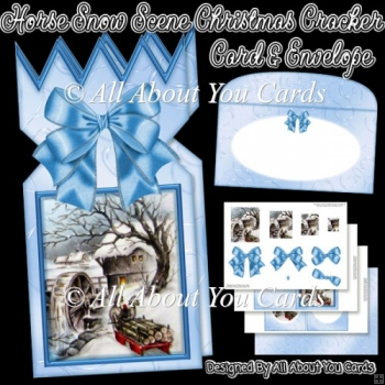 Horse Snow Scene Christmas Cracker Card & Envelope