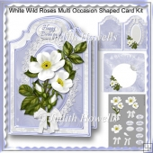 White Wild Roses Multi Occasion Shaped Card Kit