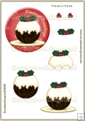 Seasons Greetings Christmas pudding PDF Decoupage Download