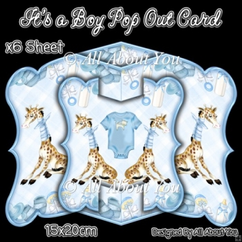 Its A Boy Pop Out Card & Envelope Set