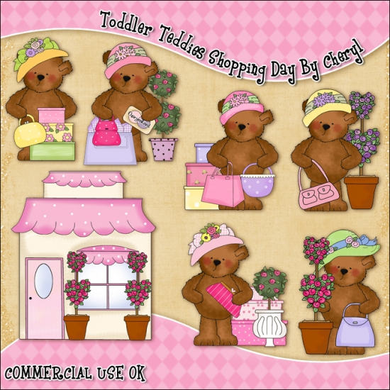 Toddler Teddies Shopping Day ClipArt Graphic Collection - Click Image to Close