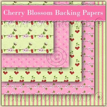 Cherry Blossom Backing Papers Download (C119)