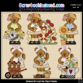 Bedilia Bear Beautiful Blooms ClipArt Graphic Collection