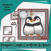 Penguin Couple 15cm Cardfront and Insert