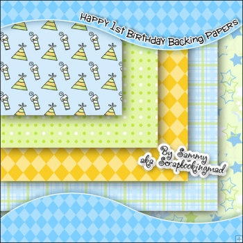 5 Happy 1st Birthday Backing Papers Download