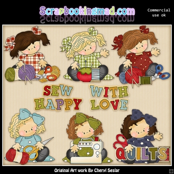 Ally and Anna Love To Sew ClipArt Graphic Collection